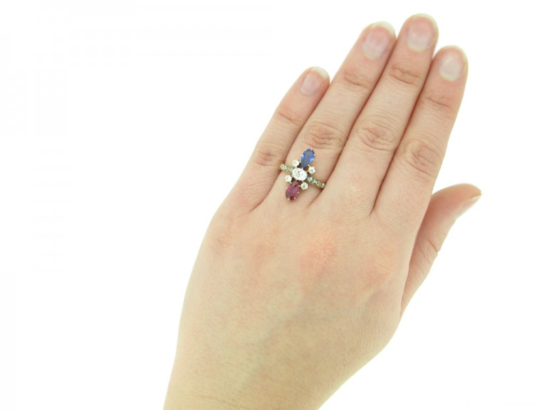 hand view Art Nouveau ruby ,sapphire and diamond ring French circa 1895 berganza hatton garden