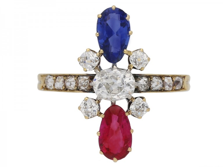 front view Art Nouveau ruby ,sapphire and diamond ring French circa 1895 berganza hatton garden