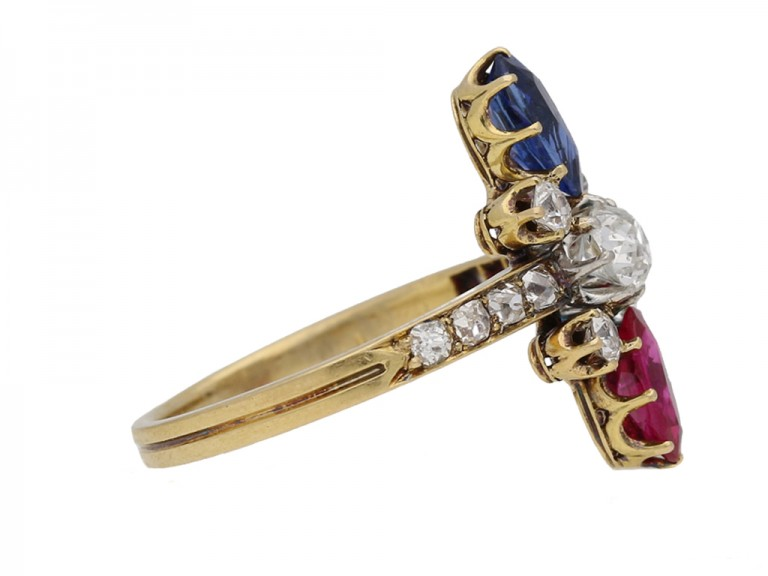 side view Art Nouveau ruby ,sapphire and diamond ring French circa 1895 berganza hatton garden