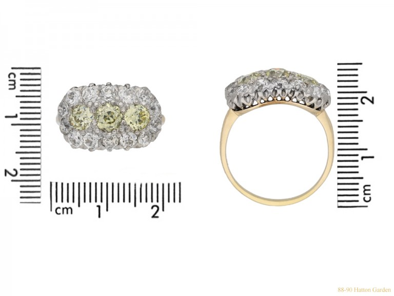 size view Yellow and white diamond triple cluster ring, circa 1905. berganza hatton garden