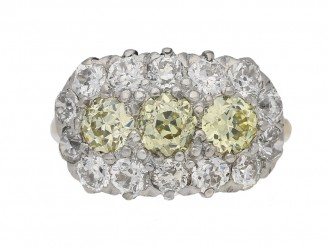 front viewYellow and white diamond triple cluster ring, circa 1905. berganza hatton garden