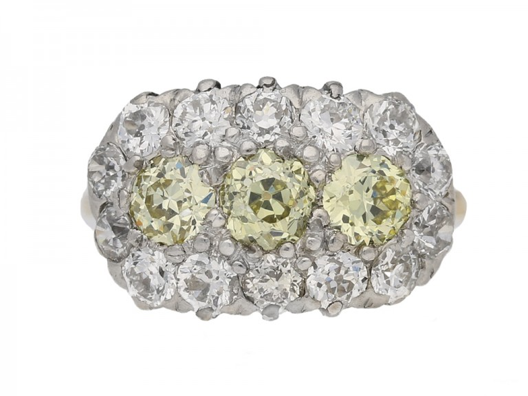 front viewYellow and white diamond triple cluster ring, circa 1905. berganza hatton garden
