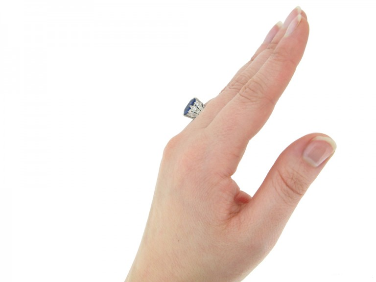 hand view Sapphire and diamond ring, circa 1920. berganza hatton garden