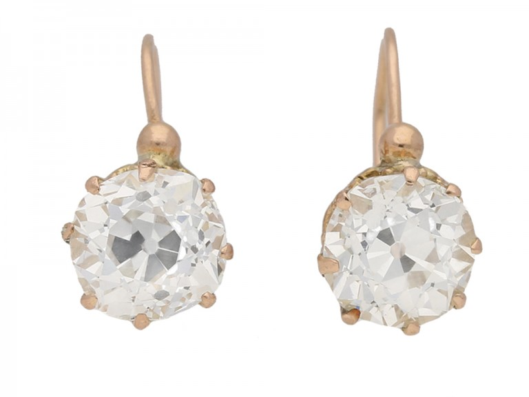 front view Antique diamond earrings, circa 1890. berganza hatton garden