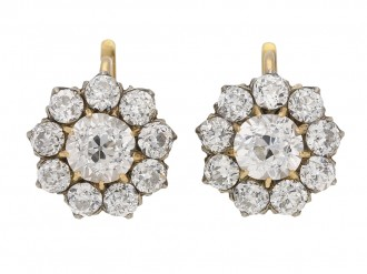 front view Antique diamond cluster earrings, circa 1890. berganza hatton garden