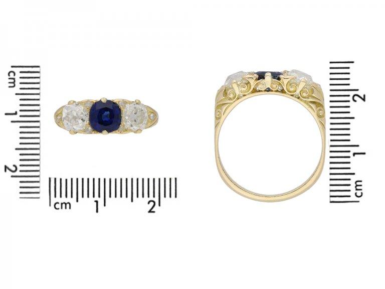 Antique carved sapphire and diamond three stone ring, circa 1900. berganza hatton garden