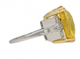 front view natural yellow sapphire ring berganza hatton garden