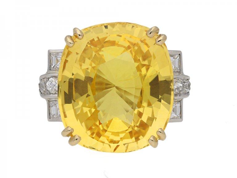 front view natural yellow sapphire ring berganza hatton garden