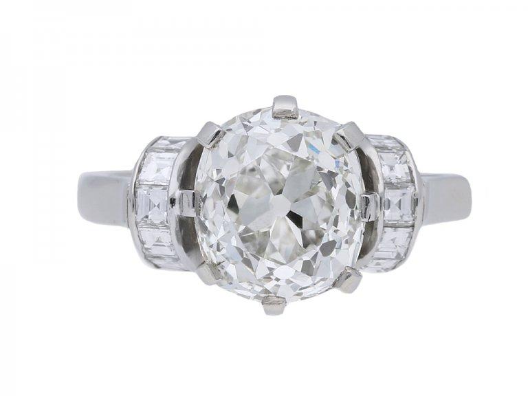 front view antique diamond engagement ring berganza hatton garden
