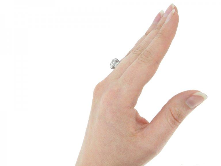 hand view antique diamond engagement ring berganza hatton garden