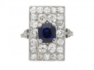 Art Deco sapphire and diamond cluster ring berganza hatton garden