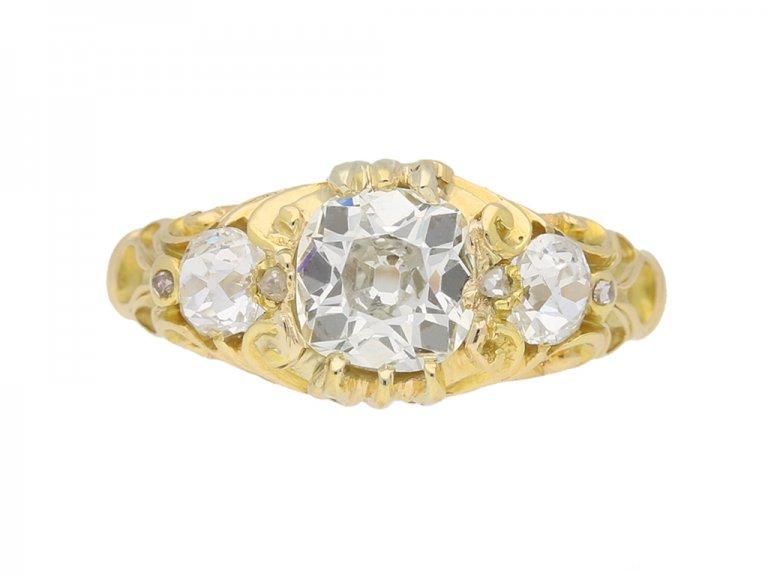 front view Antique diamond 3 stone ring berganza hatton garden