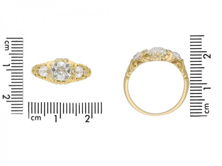 size view Antique diamond 3 stone ring berganza hatton garden