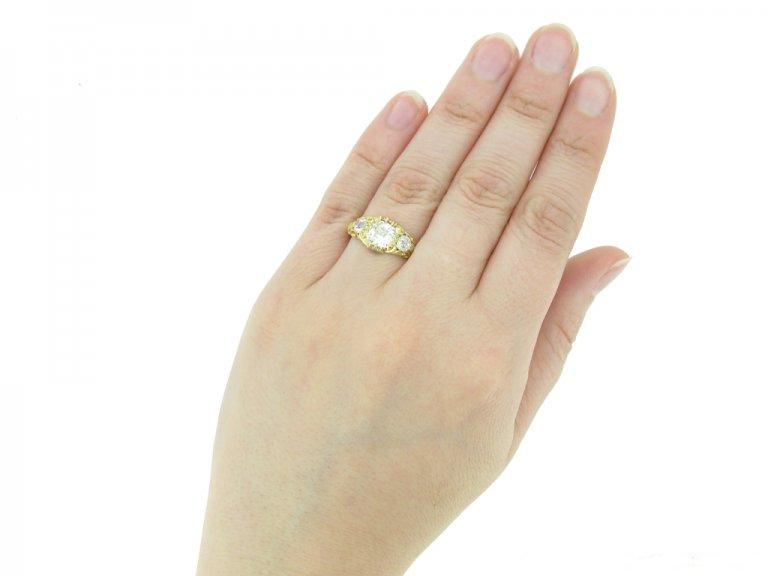 hand view Antique diamond 3 stone ring berganza hatton garden