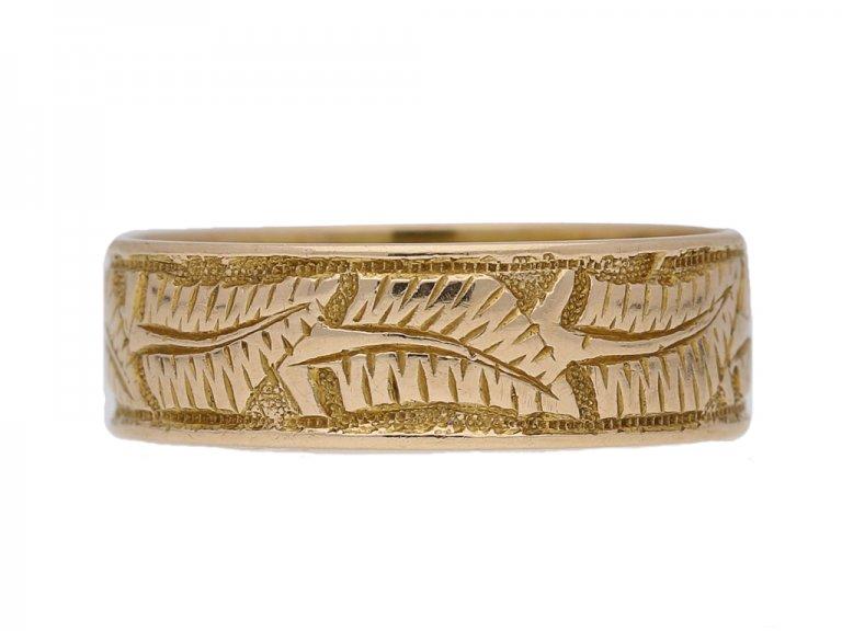 front view Victorian 15ct gold wedding ring ,circa 1884 berganza hatton garden