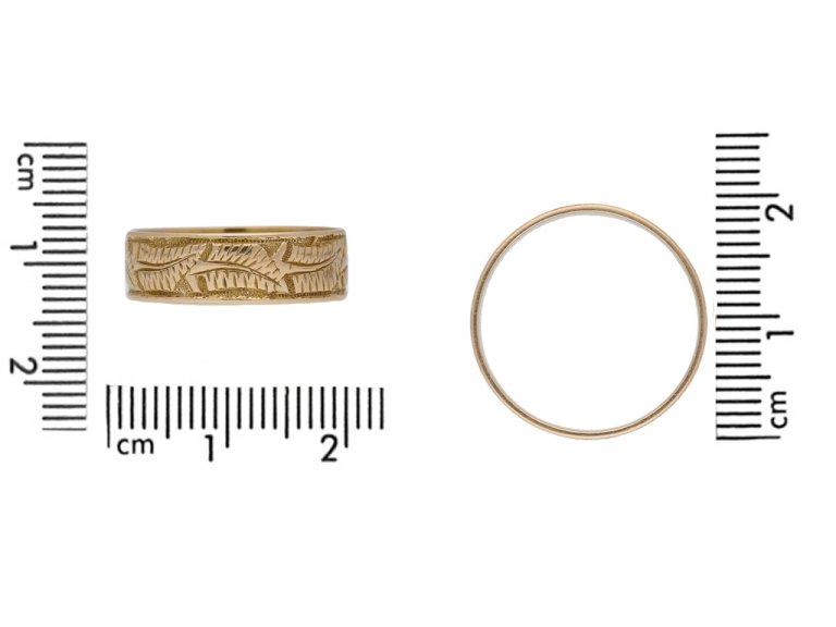 Victorian 15ct gold wedding ring ,circa 1884 berganza hatton garden