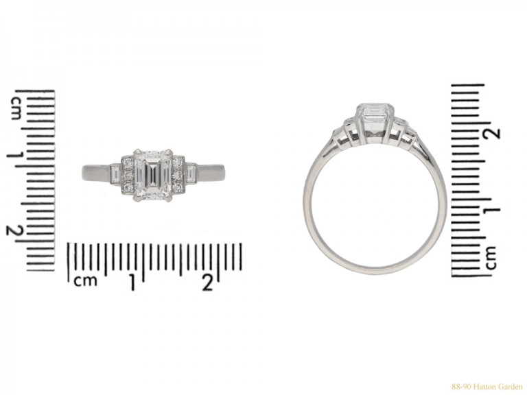 size view Art Deco emerald cut diamond ring, English, circa 1935. berganza hatton garden