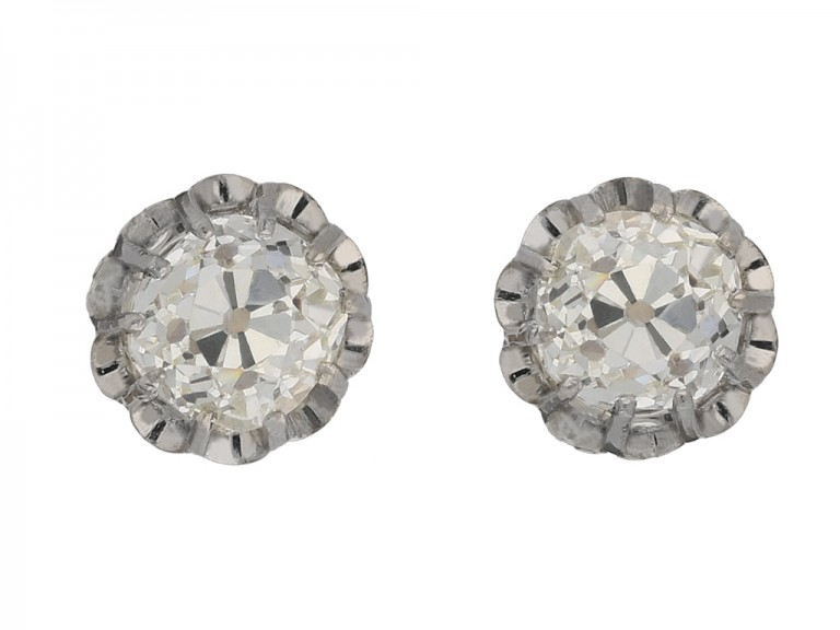 front view Antique old mine diamond earrings berganza hatton garden