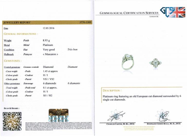 cert view Vintage diamond  engagement ring berganza hatton garden
