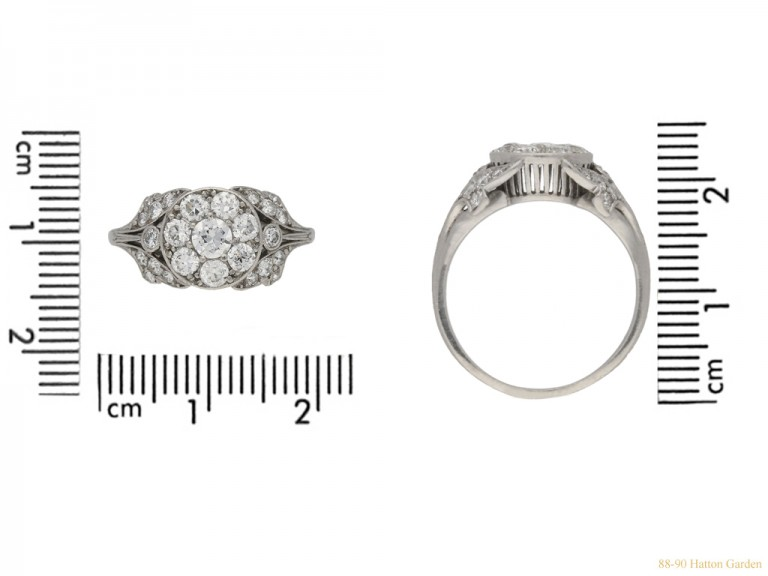 size view Ornate diamond cluster ring, circa 1915. berganza hatton garden