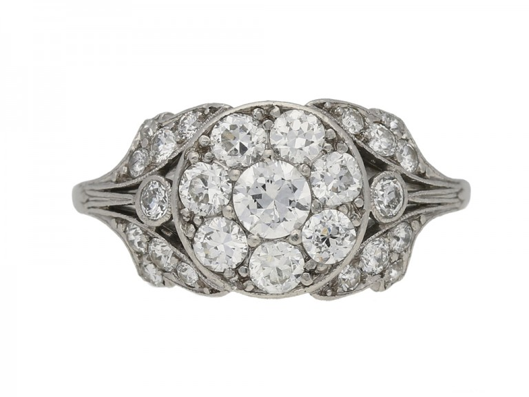 front view Ornate diamond cluster ring, circa 1915. berganza hatton garden