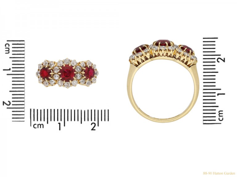 size view Antique ruby and diamond  triple cluster ring, English, circa 1905. berganza hatton garden