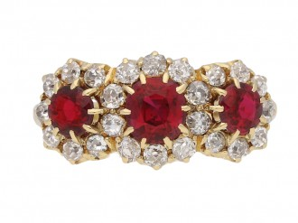 front view Antique ruby and diamond  triple cluster ring, English, circa 1905. berganza hatton garden
