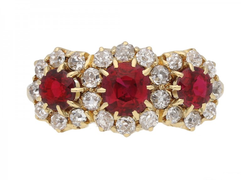 front view Antique ruby and diamond  triple cluster ring, English, circa 1905. berganza hatton garden