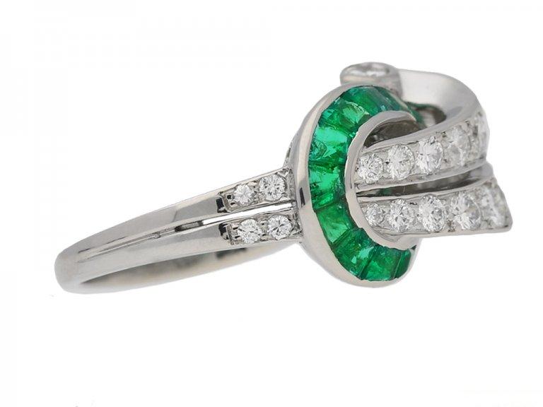 side view Emerald and diamond cocktail ring ,by Oscar Heyman Bros circa 1950