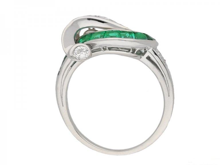 back view Emerald and diamond cocktail ring ,by Oscar Heyman Bros circa 1950