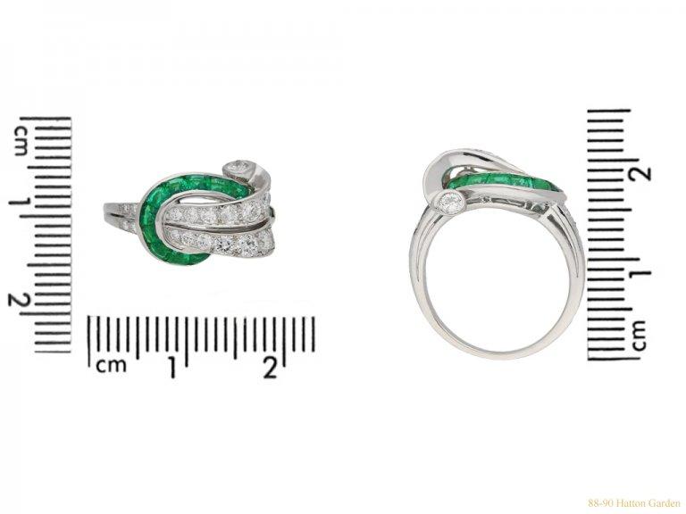 size view Emerald and diamond cocktail ring ,by Oscar Heyman Bros circa 1950
