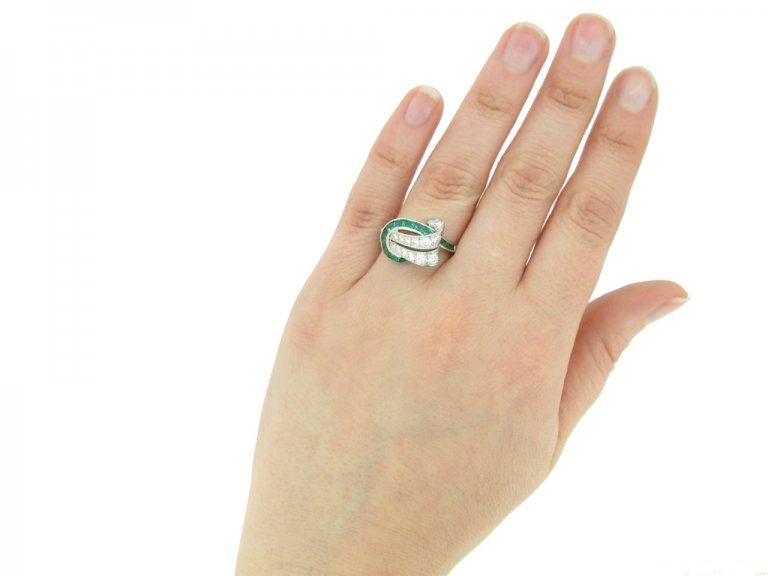hand view Emerald and diamond cocktail ring ,by Oscar Heyman Bros circa 1950