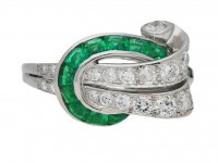 front view Emerald and diamond cocktail ring ,by Oscar Heyman Bros circa 1950