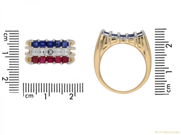 size view Ruby, sapphire and diamond ring by Cartier, circa 1976. berganza hatton garden