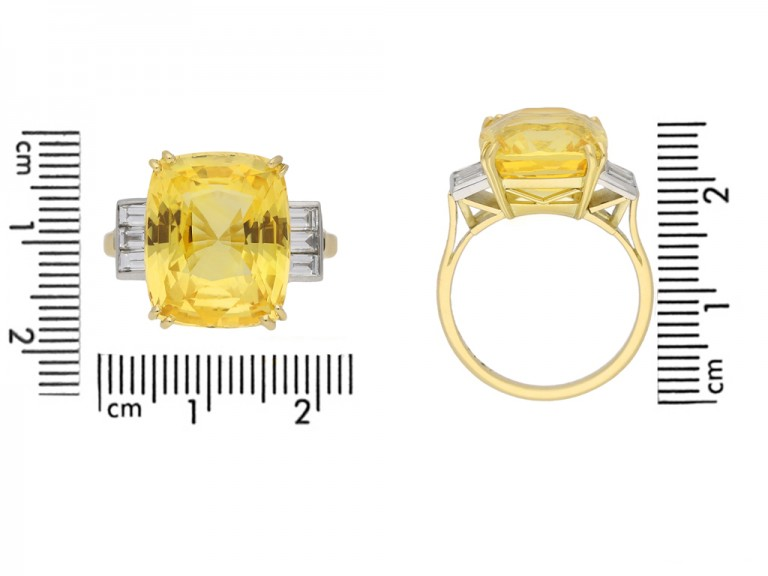 front view Yellow sapphire and diamond ring, circa 1950. hatton garden berganza
