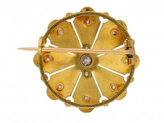 back view Antique diamond and gold brooch by René Boivin French, circa 1900. berganza hatton garden