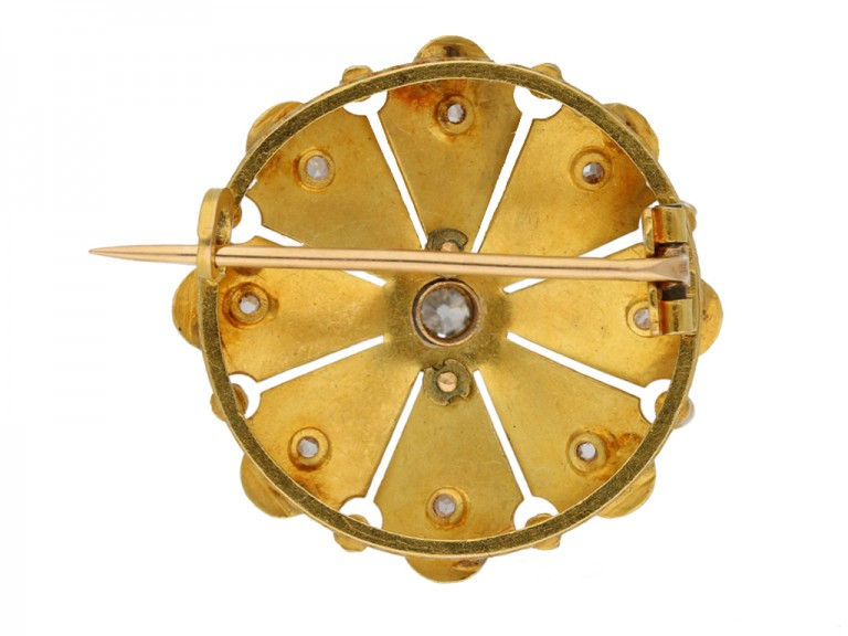 back view Antique diamond and gold brooch by René Boivin French, circa 1900. berganza hatton garden