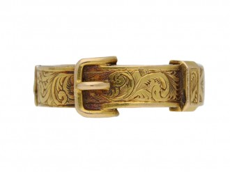 front view Early Victorian buckle locket ring, circa 1840. berganza hatton garden