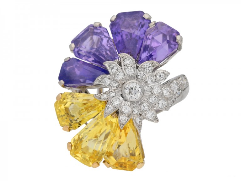 front view Yellow and purple sapphire and diamond ring by Oscar Heyman Bros, circa 1960 berganza hatton garden