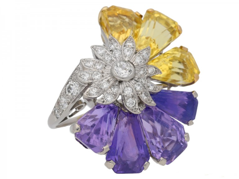 side view Yellow and purple sapphire and diamond ring by Oscar Heyman Bros, circa 1960 berganza hatton garden