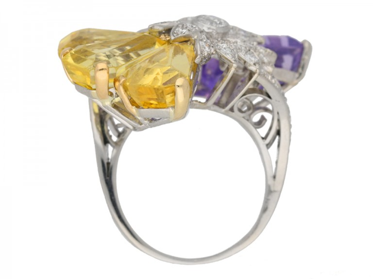 back view Yellow and purple sapphire and diamond ring by Oscar Heyman Bros, circa 1960 berganza hatton garden