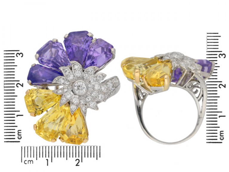 size view Yellow and purple sapphire and diamond ring by Oscar Heyman Bros, circa 1960 berganza hatton garden