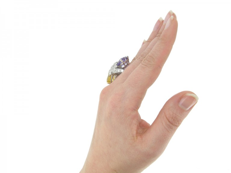 hand view Yellow and purple sapphire and diamond ring by Oscar Heyman Bros, circa 1960 berganza hatton garden