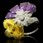 Vintage fancy coloured sapphire and diamond ring by Oscar Heyman Brothers, American, circa 1960.