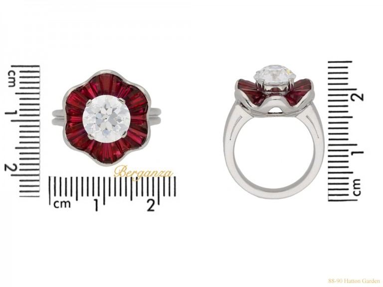front view Diamond and ruby cluster ring by Oscar Heyman Brothers, circa 1970. berganza hatton garden