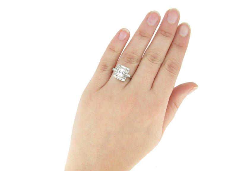 hand view Art Deco diamond ring, circa 1930. berganza hatton garden