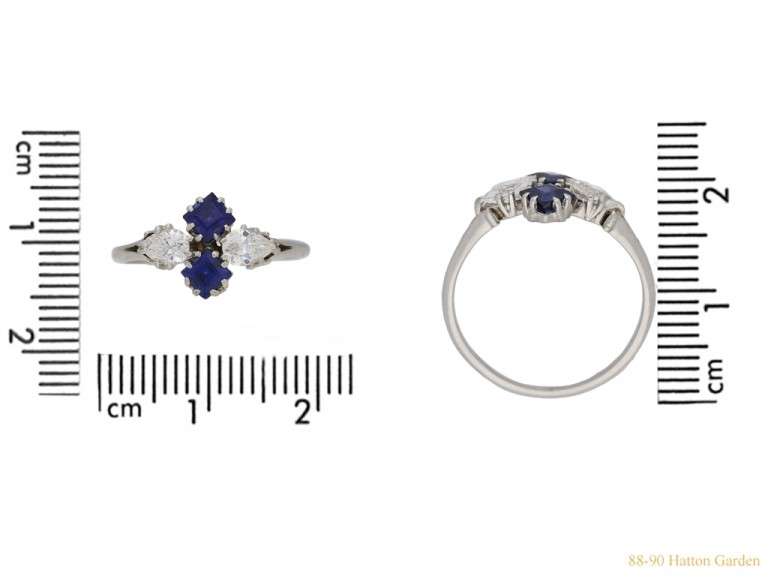 size view Sapphire and diamond cluster ring, circa 1930. berganza hatton garden