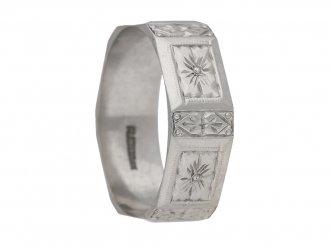 Platinum engraved wedding band, circa 1920. berganza hatton garden