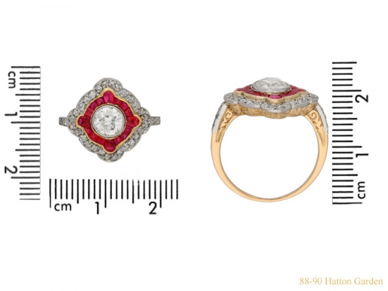 size view Antique diamond and ruby double cluster ring, circa 1905 berganza hatton garden