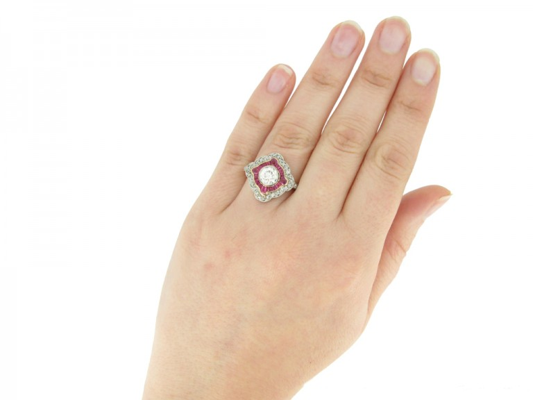 hand view Antique diamond and ruby double cluster ring, circa 1905 berganza hatton garden